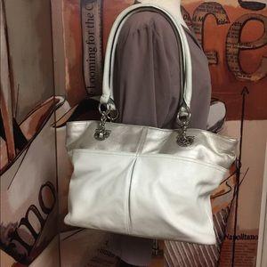 Tignanello Cream and Shiny Beige Handbag